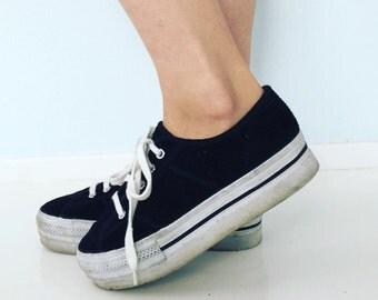 90s Platform Sneakers | 6 US / 36.5 Eur / 4 UK | Womens | Black Corduroy | Vintage | Minimal | Japan | Hipster Club Kid Avant Garde | Shoes