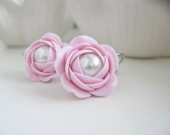Polymer clay earrings - Rose flower leverback bridal earrings with Czech glass pearls