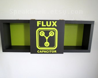 Back To The Future - Flux Capacitor - Delorean Time Machine -  Green and Black - Shadow Box Shelf - Home Decor- Cubbie Shelf - MADE TO ORDER