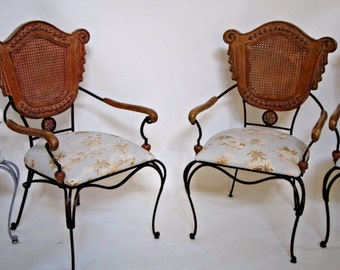 Impressive Vintage Wood Iron and Cane French Shield Back Arm Chairs set of four Insured safe nationwide shipping available