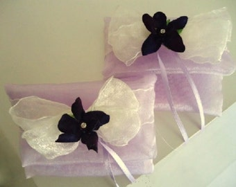 organza pouch bag with purple flower
