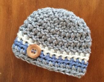 Newborn boy hat newborn boy coming home outfit baby boy hat crochet baby boy beanie gray blue infant boy hat with button preemie 0-3 months