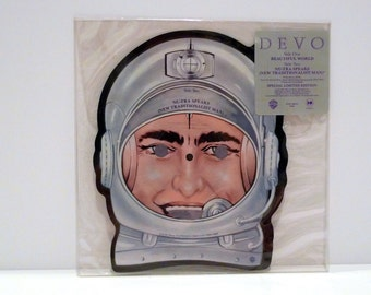 Devo Vinyl Vintage Record Picture Disc Astronaut Shaped Beautiful World New Traditionalists Limited Edition SIngle New Wave Synth Band 1980s