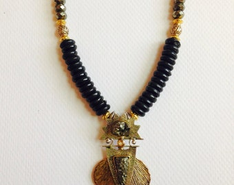 Pyrite and black pnyx pendent