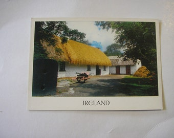 Vintage unused Irish postcard Irish cottage thatched cottage Ireland real photo