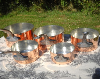 Vintage French Copper New Tin Refurbished Pans 1.4mm Set of Five Graduated French Copper Pans Real Quality Copper Pans Good Used Condition