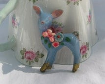 Fantastic Flower Covered Powder Blue Deer Brooch, Baby Fawn, Vintage Celluloid