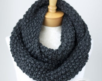 WINTER SALE Knit infinity scarf, chunky knitted infinity scarf in Charcoal Gray, chunky knit cowl, circle scarf, knit eternity scarf