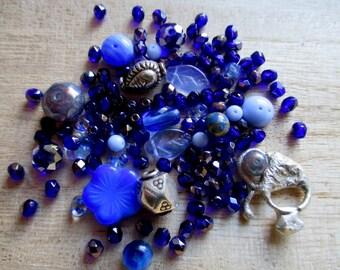 Blue silver bead mix, blue firepolish beads, bead mix, bead soup, blue Czech beads