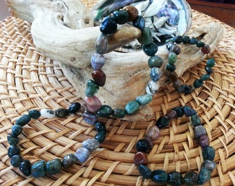Tumbled Mixed Jasper stretchy bracelet ~ One Reiki infused gemstone bead bracelet approx 8 inches