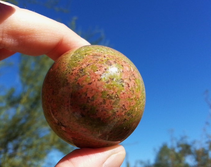 Unakite Sphere ~ One 45mm Reiki infused gemstone ball with stand (E02)