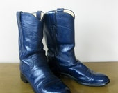 Womens JUSTIN Navy BLUE leather cowboy boots- size 6 B -roper style - Made in USA- dress up - costume - boho -womens leather boots