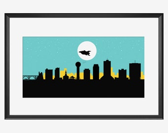 Knoxville Skyline Print, The Spaceship, Knoxville poster, Knoxville print, Rocket poster, Knoxville art, Rocket print art, Rocket Nursery