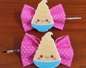 Dole Whip inspired Pink Polka Dot Bow Bobby Pins-Set of 2