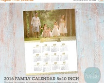 50% OFF 2016 Family Calendar Template  -  Printable Photoshop Template - GG013 - INSTANT Download