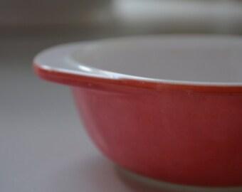 vintage Pyrex 080 mini casserole dish, dusty flamingo pink, 8 oz