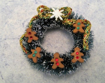 Christmas Wreath ~ Dollhouse Miniature ~ Gingerbread Christmas Wreath ~ Miniature Christmas Wreath ~