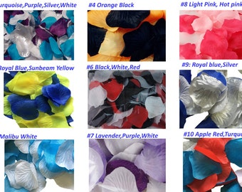300pc Pack-Mixed Color Artificial Rose petals- Malibu, Black, White, Orange, Royal blue, Red -Pick desired colors