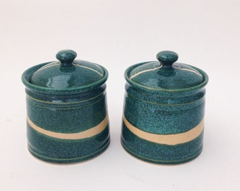 Set of Two Ceramic Jars with Lids