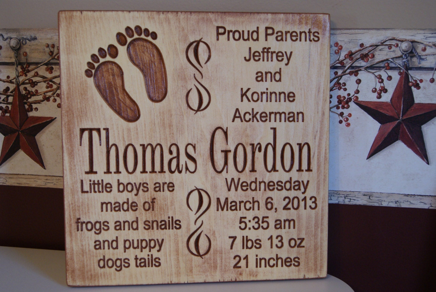 Baby Gift With Name : Baby gift newborn name birth information by tkwoodcrafts