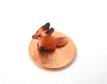 Micro Red Fox, Itty Bitty Fox, Tiny Miniature Figurine, Hand-Sculpted, OOAK, Mica Powder Finish Polymer Clay