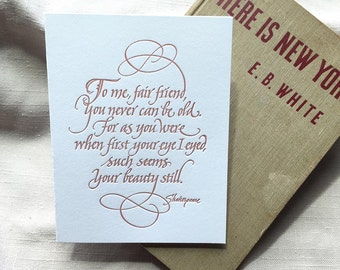 Shakespeare Quotation Birthday Card (Letterpressed and Calligraphic)
