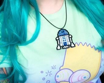 Star Wars R2D2 hama bead sprite necklace - retro 8 bit pixels