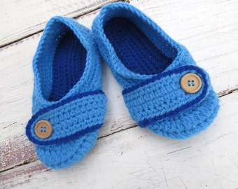 Kids Crochet House Slippers Girl Slippers Blue with Buttons Tab for Girls Size 6 US