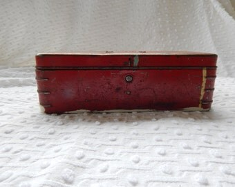 Vintage red metal tool box or whatnot container