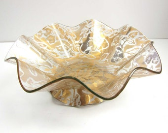 Vintage Ricco Verre Belgium Glass Gold Floral Ruffled Console Bowl / Slump Glass Embossed Gold Flowers