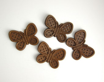 Vintage Burwood Butterflies Wall Decor Plastic Faux Bois Wicker Cane  - Set of 4