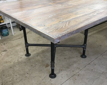 Square wood dining table , reclaimed wood dining table top, with or without pipe base