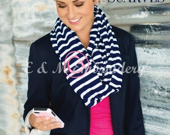 Monogrammed Navy Strip Infinity Scarf - Personalized Scarf