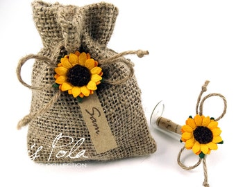Bridesmaid Secret Message in a bottle, Sunflower, Jute Pouch, Barn Wedding Style, Name Tag, Will you be my ..., Glass Vial, Girly Favor, ECO