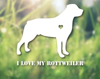 I Love My Rottweiler Vinyl Decal // I Love My Dog Decal // Rottweiler Decal // Car Decal // Dog Silhouette Decal //Dog Sticker