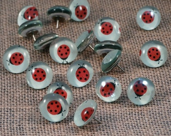 Ladybug Glass Push Pins, Set of 10 // Decorative Push Pins // Decorative Thumb Tacks // Office Organization // Dorm Decor