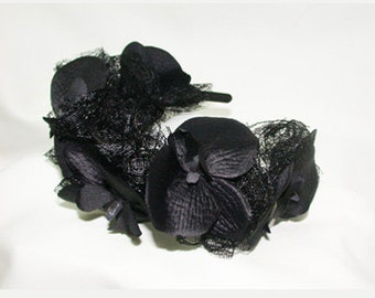 Zwarte tiara - Black hair decoration gothic - fantasy