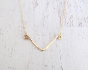 Chevron Hammered Bar  Necklace, 14kt Gold Filled Necklace Gift for Her