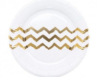 Metallic Gold Chevron Paper Plates - Small