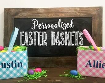 Personalized Easter Baskets- Boy Easter Baskets- Custom Easter Basket- Blue Plaid