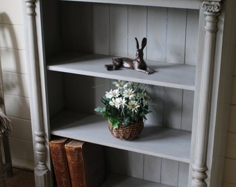 """NOW SOLD Super Rustic Country Style Solid Pine Bookcase/Kitchen Storage Unit - """"Farmhouse Painted"""""""
