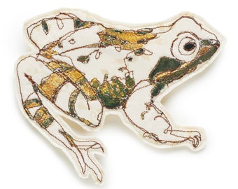 Frog Embroidered Brooch