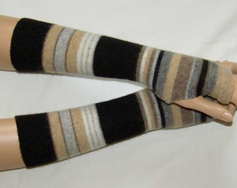 Multicolored Stripes, Short, Mittens, Arm Warmers, Very Soft Fingerless Gloves, Hippie, with Thumb Hole. IDEAL for HER