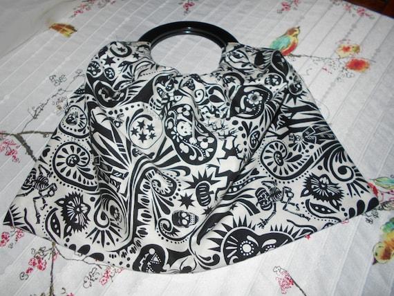 Back & White Fabric Handbag/ Purse with Skulls, Halloween, Pumpkin Design Halloween