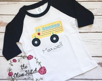 Back to School Bus - The Wheels On the Bus- Applique Embroidery
