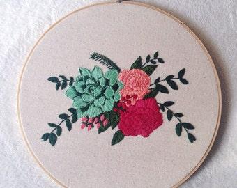 Floral/Succulent Arrangement - Handmade Embroidery Art