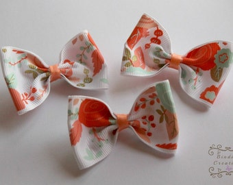 "Ribbon hair bows-""Gracie"" in coral and turquoise"
