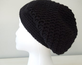 Slouchy crochet hat - black (adult size)