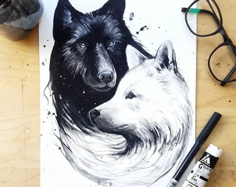 Night and Day Wolves - Art Print