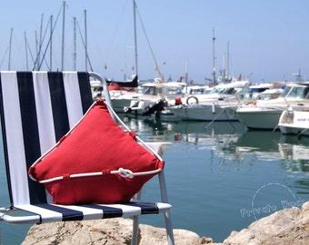 Nautical Pillow Classic Yacht Nautical Art Modern Design. Maritime, nautical beach elegant home decor. Fine fabrics. Unique gift for sailor!